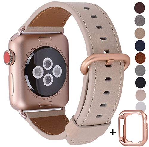 JSGJMY Compatible for Iwatch Band 38mm 40mm S/M Women Genuine Leather Loop Replacement Strap Compatible for iWatch Series 4 (40mm) Series 3 2 1 (38mm),Light tan with Series 4/3 Gold Clasp