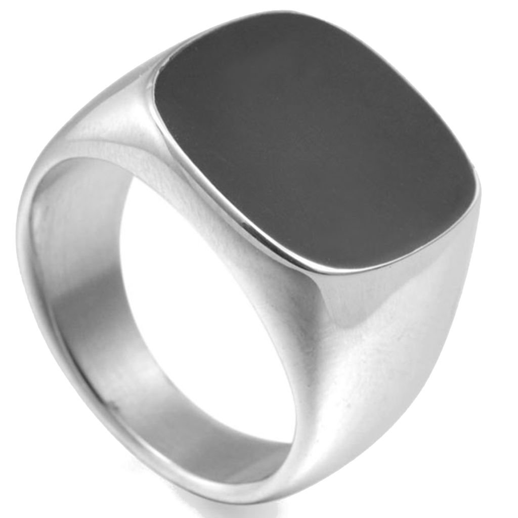 Jude Jewelers Stainless Steel Black Enamel Signet Ring 8J16