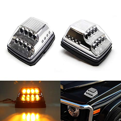iJDMTOY Clear Lens Amber LED Front Turn Signal Lamps For 90-up Mercedes W463 G-Class G500 G550 G600 G55 G63 AMG w/White LED Position Lights