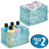 mDesign Storage Basket Bin with Handle for Organizing Hand Soaps, Body Wash, Shampoos, Lotion, Conditioners, Hand Towels, Hair Accessories, Body Spray - Small, Pebble Design, Pack of 2, Blue