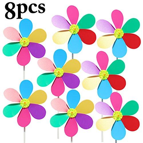 Coxeer Pinwheel, 8PCS Kid's Pinwheel Fashionable Flower Shape Pinwheel DIY Pinwheel Decor Wind Spinner for Birthday Garden Ornaments,Party Supplies Decor by Coxeer