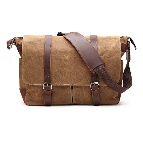 Khaki Messenger Bags (H-ANDYBAG 15 Inch Shoulder Laptop Bag Waxed Canvas Messenger Bag for Men (Khaki))