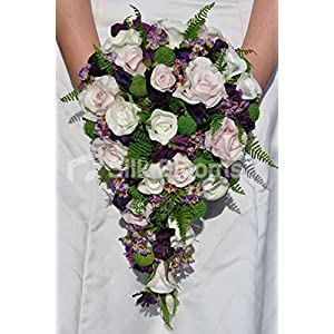 Silk Blooms Ltd Artificial Light Pink, Ivory and Purple Sweetpea and Waxflower Bridal Cascade w/Foliage 19