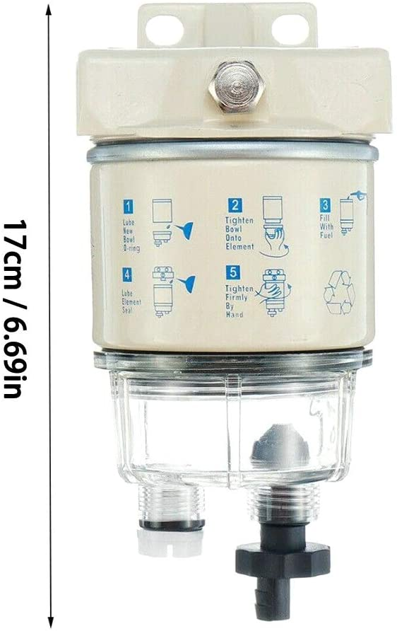 Ternence Flynn R12T Oil-Water Separator Fuel Filter Water Separator 120AT with Fitting Complete Combo Filter for Automotive Racor R12T Marine Diesel Engine Mower