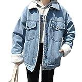 YOUMU Oversize Women's Boyfriend Denim Jacket Loose Casual Thick Lambs Fleece Fur Lining Jean Coat Autumn Winter Spring