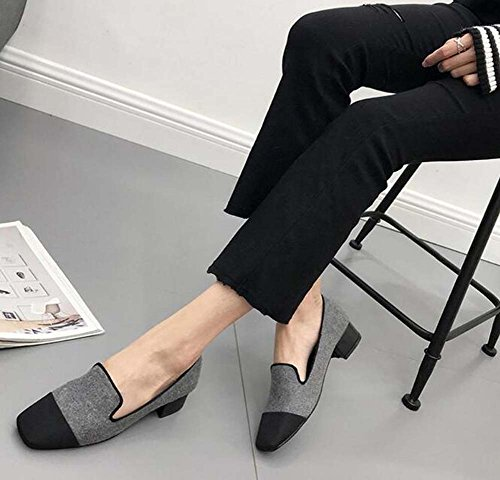 Shoes Round Size Toe Loafer Chunkly Match 35 Pump Eu Casual Color 3cm Plush Shoes Court 39 Grey Heel Flats Ballerina Women fwTqxXBBt