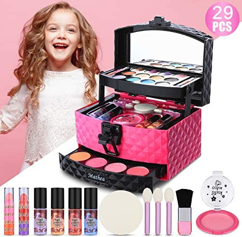 Mathea 29 Pcs Washable Makeup Toy Set with Luxury Diamond Pattern Box Real Cosmetic Beauty Set for Kids Play Game