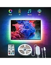 LED TV Hintergrundbeleuchtung, Govee 3M USB LED Strip Lichtband mit Fernbedienung für 46-60 Zoll LED Beleuchtung Fernseher, 32 Farben 7 Szenen-Modi Stimmungsbeleuchtung LED Streifen, MEHRWEG