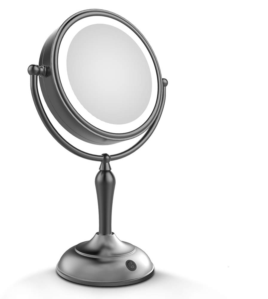 LED Makeup Mirror - Lighted Vanity Mirror with 1x/10x Magnifying, 7.5 Inch Double Sided Mirror With Stand Black Makeup Mirror