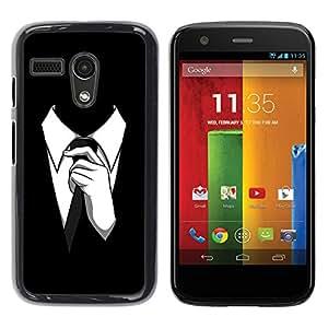 TECHCASE**Cubierta de la caja de protección la piel dura para el ** Motorola Moto G 1 1ST Gen I X1032 ** Man Suit Tie Style Formal Outfit Black White