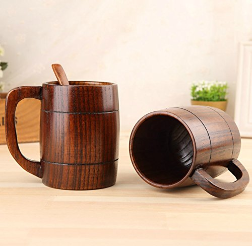 Retro Wooden Beer Mug, 16 OZ Handmade Eco-friendly Wooden Mugs With Handle For Wine/Coffee/Tea, Best Gift Cups For Men/Women (10) by Aimee_JL