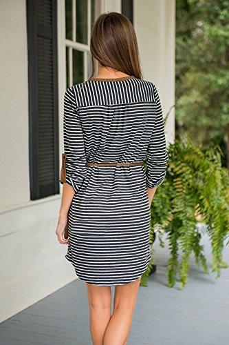 Irregular Nero Mini Stripe Vestiti Asimmetrica Keider Elegante Manica Donna Collo Corto Cute Libero Sciolto Grazioso Vestiti Moda V Camicia Lunga Chic Tempo Vestiti ABSwOx4qTO