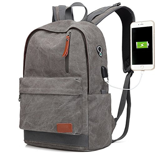 ae6d0da76f3 Canvas Laptop Backpack, Waterproof School Backpack With USB Charging Port  For Men Women, Lightweight Anti-theft Travel Daypack College Student  Rucksack Fits ...