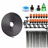 Drip Irrigation Kit Accessories Automatic Plant Watering System + Saving Water Atomizing Nozzle Mister Dripper Misting Cooling System for Garden Vegetable Flower Beds Landscaping 32ft 10M Hose