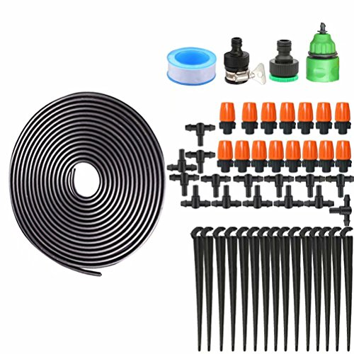 Drip Irrigation Kit Accessories Automatic Plant Watering System + Saving Water Atomizing Nozzle Mister Dripper Misting Cooling System for Garden Vegetable Flower Beds Landscaping 32ft 10M Hose by MAZU