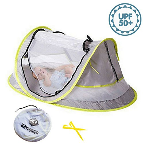 Wayfinder TravelTot, Baby Travel Tent Portable Baby Travel Bed Indoor & Outdoor Travel Crib Baby Beach Tent UPF 50+ UV Protection w/Mosquito Net and 2 Pegs -