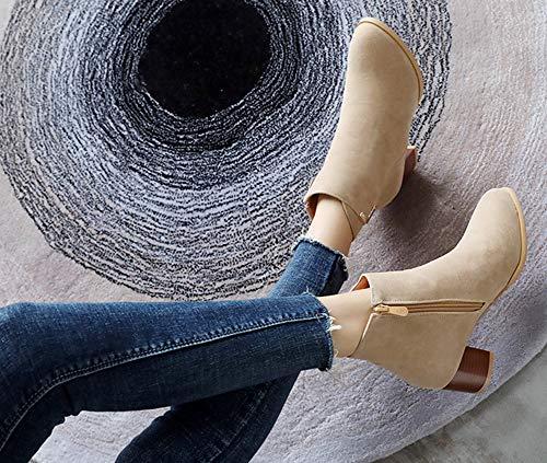 Basse Rond Abricot Aisun Bottines Boots Low Bout Classique Femme 1qZRaw6F