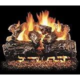 Peterson Real Fyre 18-inch Burnt Rustic Oak Log Set With Vented Natural Gas Ansi Certified G46 Burner - Variable Flame Remote