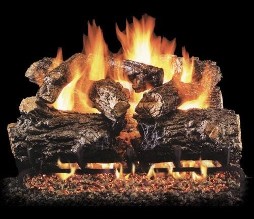 Real Fyre HCHR Burnt Rustic Oak Vented Gas Logs, 16 Inch