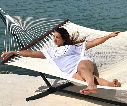 Caribbean Hammocks – Island Oasis and Stand Set Green Stand and Cream Hammock