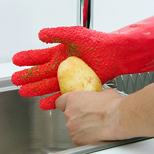 Loilee Kitchen 1 Pair Waterproof Quick Peeling Tater Mitts Potato Scrubbing Gloves Vegetable Cleaning Tools