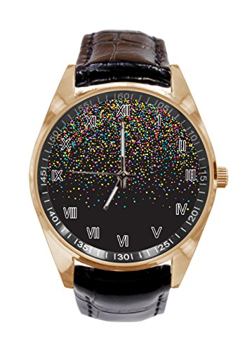 Colourful confetti Custom Specially Designed Unisex Leather Strap Metal Watch Casual Quartz Watches (Colourful Dial)