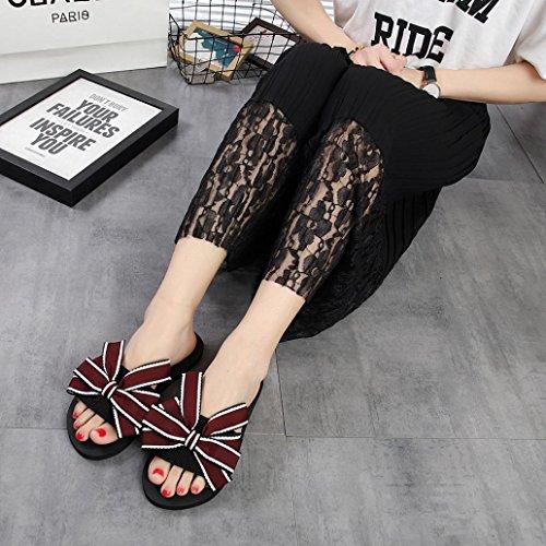 playa Mujer de Verano verano de zapatillas libre LMMVP al aire Rojo flops flip sandalias Chanclas Mujeres interior arco zapatos ZdAIqWwa