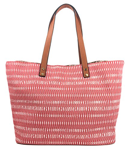 Canvas Comfortable Shopper with Bag in Summer and Beach with Canvas Waves Colours Waves Red in Expanding SURF Straw Bag Large Handles Designer Glitter Zips Lovely Bag Summer Tote Print Soft vFAHqzcP
