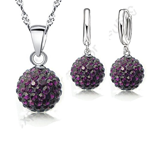 Sets 925 Sterling Silver Austrian Crystal Pave Disco Ball Lever Back Earring Pendant Necklace Woman Purple