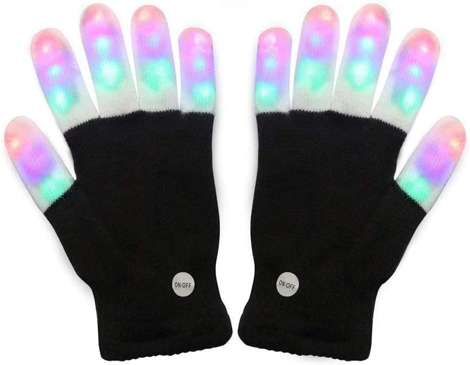 Amazer Kids Light Gloves Children Finger Light Flashing LED Warm Gloves with Lights for Birthday Light Party Christmas Xmas Dance Gifts for More Fun-Black