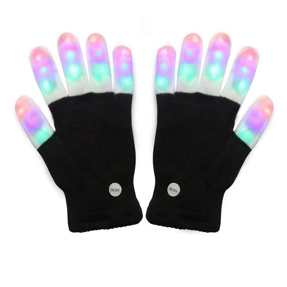 Amazer Light Gloves Adult and Big Children's Finger Light Flashing LED Warm Gloves with Lights for Birthday Light Party Christmas Xmas Dance Thanksgiving Day Gifts for More Fun Black