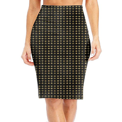 Womens New Printed Tailored Skirt Golden Crown High Waist Wrap Tube