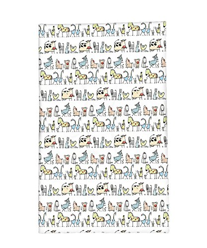 Interestlee Fleece Throw Blanket Cartoon Village of Domestic Animals Goat Goose Sheep Funny Patterns Kids Decoration Beige - University Village Stores Seattle