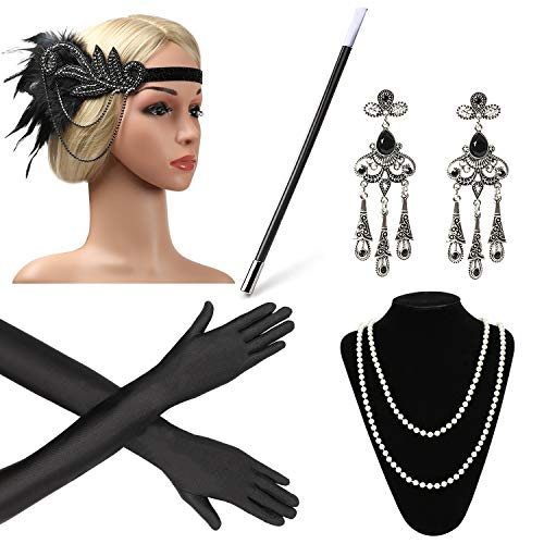 Beelittle 1920s Accessories Headband Earrings Necklace Gloves Cigarette Holder (C2)]()