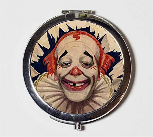 Circus Clown Compact Mirror Vintage Illustration Retro Kitsch Make Up Pocket Mirror for Cosmetics