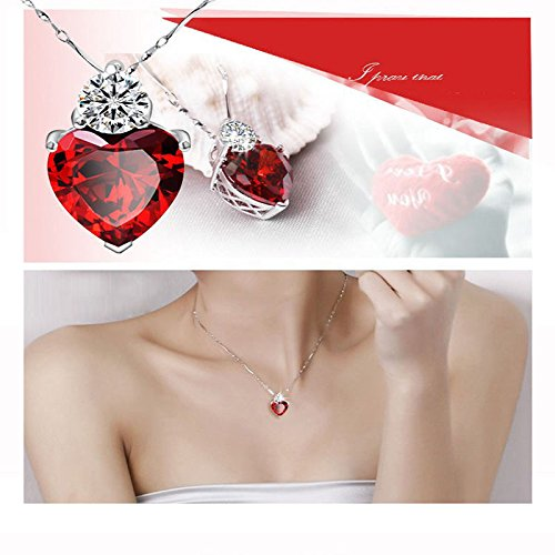 Nadeejewelry Napafashion Silver Plated 3 Colors Crystal Love Heart Necklace Gift for Girlfriend Wife Mum 1 ()