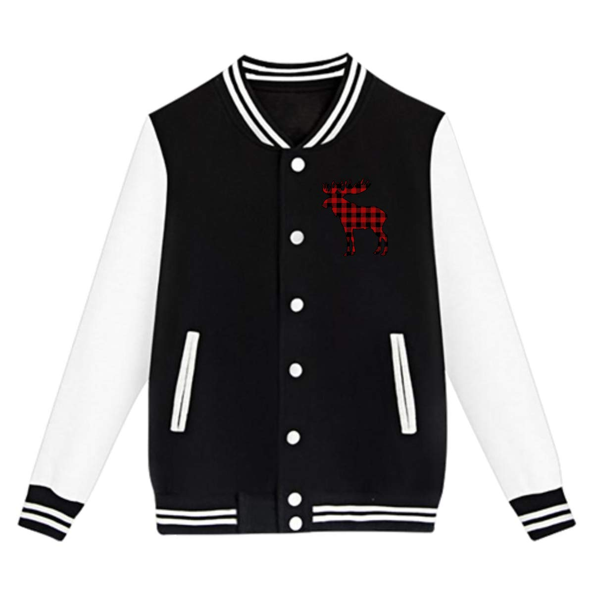 Buffalo Plaid Moose Teenage Baseball Jackets Uniform Boys Varsity Jackets