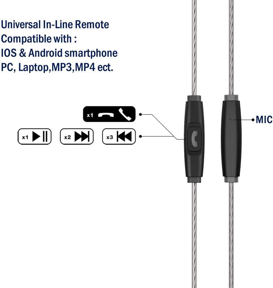 con micr/ófono Color Negro Transparente TENNMAK MMCX Cable Desmontable con Mando a Distancia y micr/ófono para Auriculares TENNMAK Pro Piano Trio y Otros MMCX