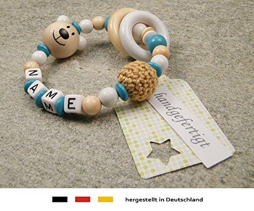 Baby Greifling Bei/ßring geschlossen mit Namen individuelles Holz Lernspielzeug als Geschenk zur Geburt Taufe M/ädchen Jungen Motiv B/är in weiss t/ürkis
