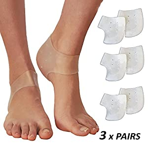 Plantar Fasciitis Inserts Heel Protectors - Silicone Gel Heel Cups for Bone Spur Relief (3 Pairs)