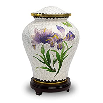 OneWorld Memorials Iris Bronze Cremation Urn – Extra Large – Holds Up to 210 Cubic Inches of Ashes – Cloisonne White Metal Urns for Ashes – Engraving Sold Separately