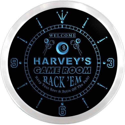 ncx0222-tm Harvey's Pool Game Room Bar Custom Name Neon Sign Clock (Neon Clock Pool Room)
