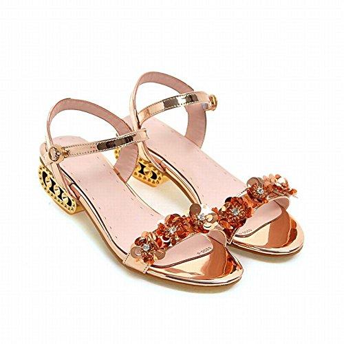 Charm Fot Kvinna Mode Blomma Lackläder Öppen Tå Mitten Klack Sandaler Guld