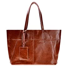 ZLYC Women Simple Cow Split Leather Top Handle Tote Commuter Shopper Shoulder Bag, Brown