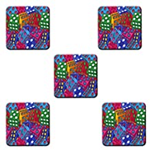 Large Fuzzy Dice Custom Design Square Coasters 5 Piece Set Cup Mat Stylish durable Cork Pad Antiskid Mat Stain Resistance