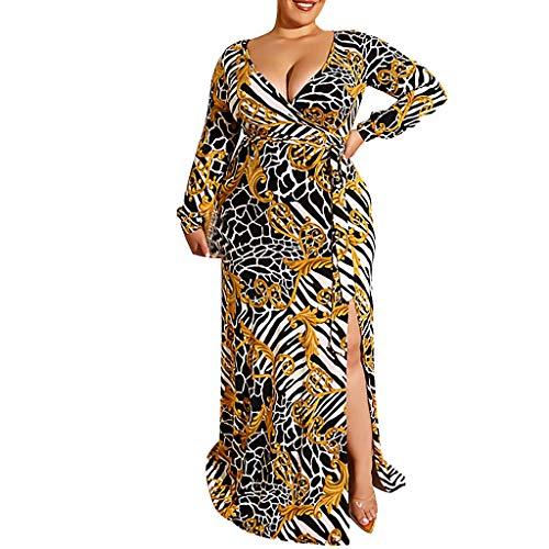YKARITIANNA Fashion Women Plus Size Sexy Print Frenulum Sashes Loose Long Sleeve Long Dress ()