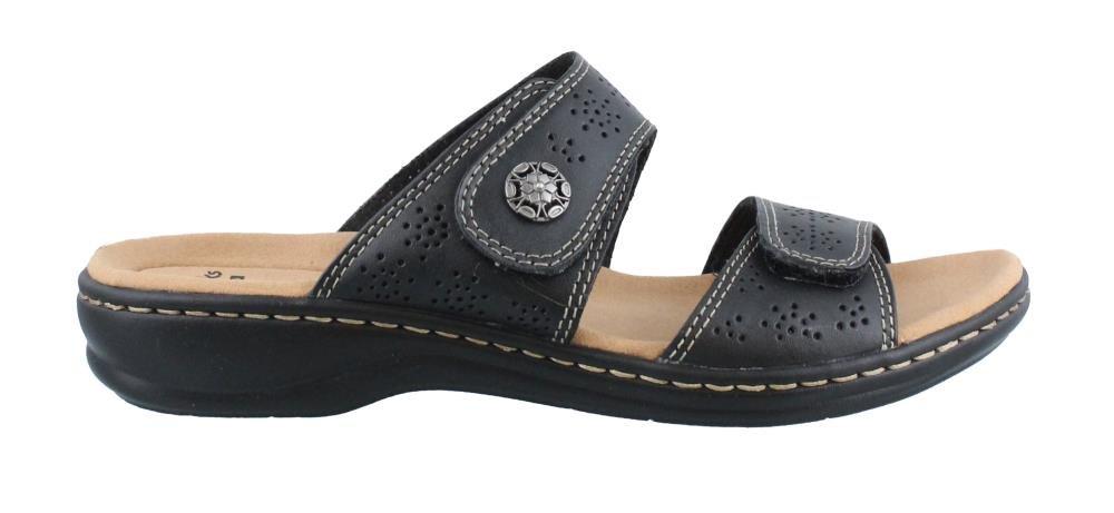 CLARKS Women's Leisa Lacole Slide Sandal, Black Leather, 8.5 W US