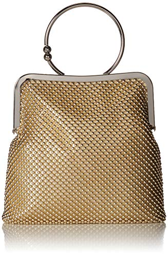 (Jessica McClintock Jill Framed Mesh Pouch with Ring Handle, gold)