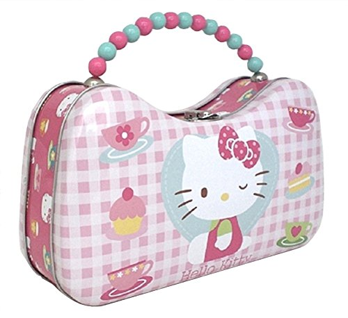 Hello Kitty Metal Handbag Purse Pink Plaid Tin Box Co. 8.5 x 5 x 2.75