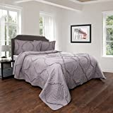 Lavish Home Quilt and Sham Set- Hypoallergenic 2 Piece Oversized Twin Quilt Bed Set with Curved Ruffle Design- Charlize Series (Silver)